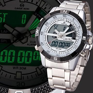 Homens Relógio de Pulso Relógio Militar Relógio Esportivo Japanês Quartzo Alarme Calendário Cronógrafo Impermeável Dois Fusos Horários LCD