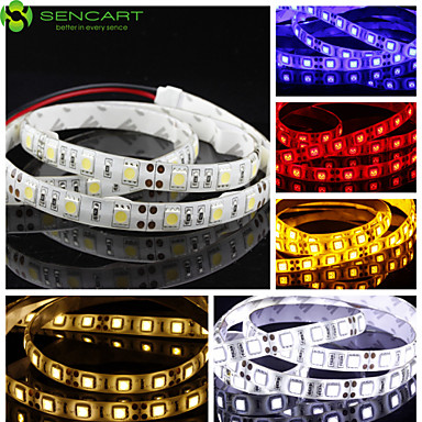 Faixas de Luzes LED Flexíveis 60 LEDs Branco Quente Branco Amarelo Azul Vermelho Cortável Regulável Auto-Adesivo Adequado Para Veículos