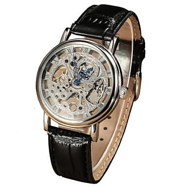 Masculino Relógio Elegante relógio mecânico Mecânico - de dar corda manualmente Impermeável Couro Banda Luxuoso Preta Marrom Dourado Prata
