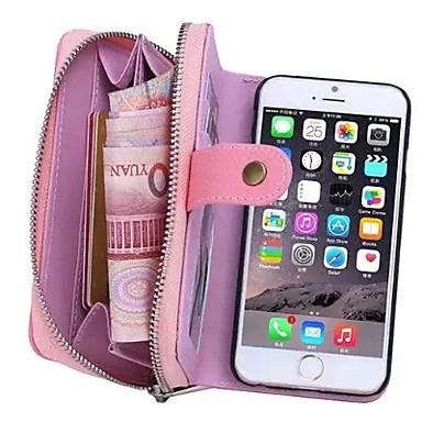hoesje Voor Apple iPhone 8 iPhone 8 Plus iPhone 6 iPhone 6 Plus Kaarthouder Portemonnee Buideltas Effen Kleur Hard aitoa nahkaa voor