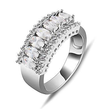 Mulheres Anel de declaração Branco Pedras preciosas sintéticas Zircão Zircônia Cubica Imitações de Diamante Fashion Casamento Festa