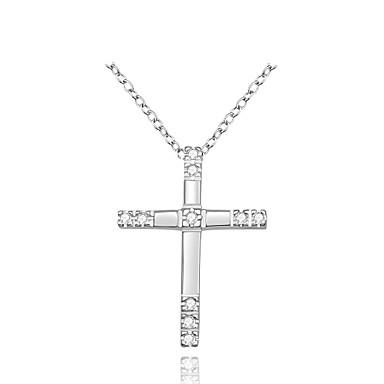 Férfi Női Rövid nyakláncok Nyaklánc medálok Függők Cross Shape Ezüst Cirkonium Kocka cirkónia luxus ékszer jelmez ékszerek Ékszerek
