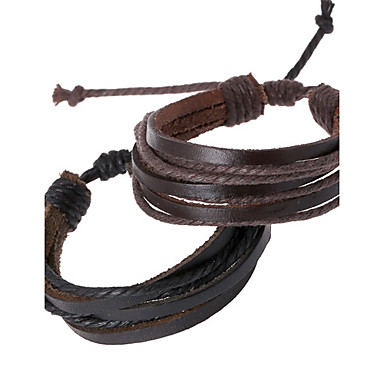 billige Damesmykker-Herre Lær Armbånd Tau woven Billig damer Kjede Personalisert Lær Armbånd Smykker Svart / Brun Til Daglig