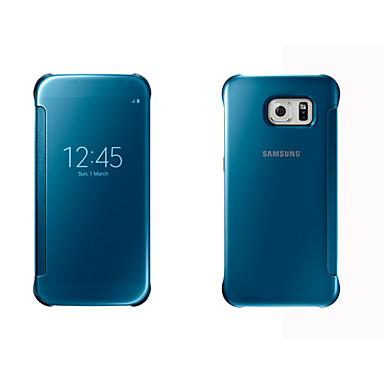 Недорогие Чехлы и кейсы для Galaxy S6-Кейс для Назначение SSamsung Galaxy S8 Plus / S8 / S7 edge с окошком / С функцией автовывода из режима сна / Зеркальная поверхность Чехол Однотонный Твердый ПК