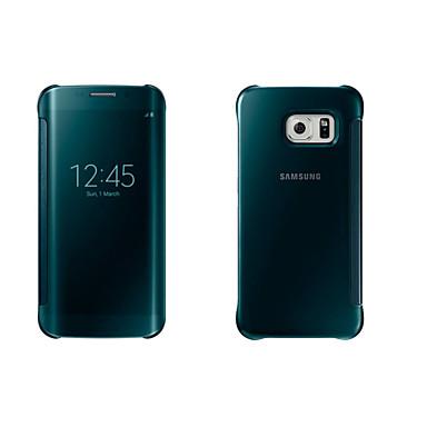 Недорогие Чехлы и кейсы для Galaxy S6-Кейс для Назначение SSamsung Galaxy S8 Plus / S8 / S7 edge с окошком / С функцией автовывода из режима сна / Зеркальная поверхность Чехол Однотонный Мягкий ПК