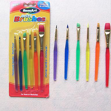 6 colorido ponta pintura nylon criança escovas escova de unhas para bolo de creme fondant (cor aleatória) 20 * 6 * 2 centímetros