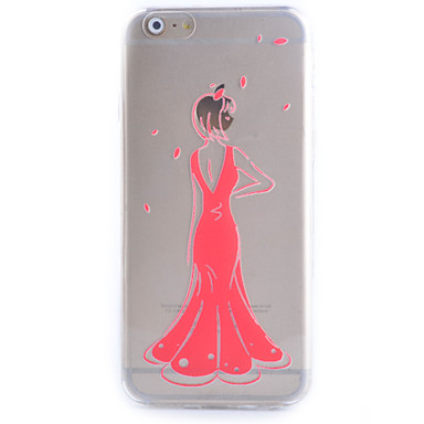 slanke transparante rode jurk patroon zacht telefoon Case voor iPhone 6 / 6s