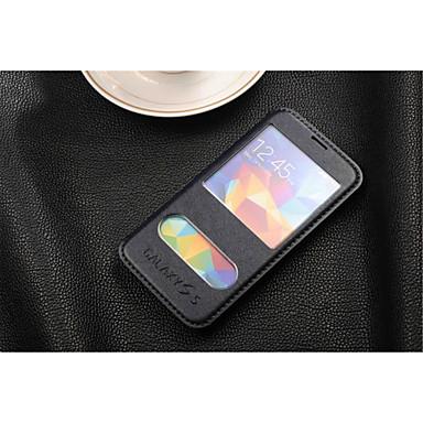 Voor Samsung Galaxy hoesje Hoesje cover met standaard met venster Flip Volledige behuizing hoesje Effen kleur Zacht PU-leer voor Samsung