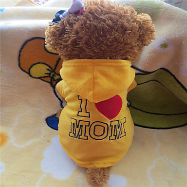 Dog Hoodie Dog Clothes Letter & Number Yellow Rose Polar Fleece Costume For Pets Classic