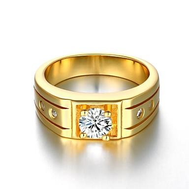 Homens Feminino Anéis Grossos bijuterias Chapeado Dourado Jóias Para Casamento Festa Diário Casual Esportes