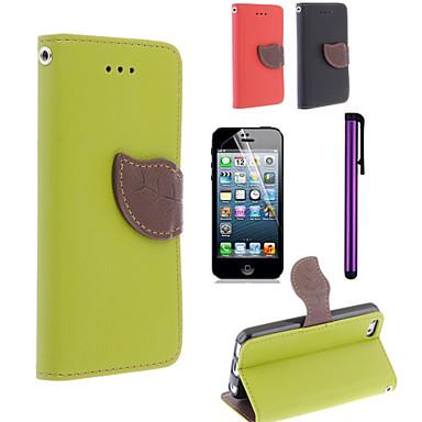 φύλλα σχεδιασμού pu περίπτωση leahter με προστατευτικό οθόνης ταινία και τη γραφίδα για το iPhone 5γ (διάφορα χρώματα)
