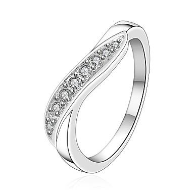 Mulheres Zircão / Prata Chapeada Anel de declaração - Fashion Prata Anel Para Casamento / Festa / Diário