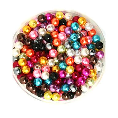 100g beadia (cerca de 1000pcs) abs pérolas cor 6 milímetros de plástico solta pérolas rodada mistos para fazer jóias diy