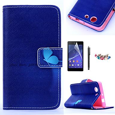 karzea ™ blauwe vlinder patroon pu lederen tas met een screen protector en stylus en stof stekker voor Sony Xperia z3mini