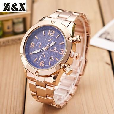 Masculino Relógio de Pulso Quartzo Lega Banda Dourada Branco Preto Azul