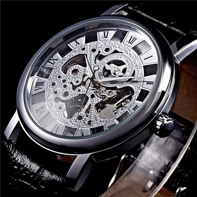 WINNER Ανδρικά μηχανικό ρολόι Ρολόι Καρπού Μηχανικό κούρδισμα Εσωτερικού Μηχανισμού PU Μπάντα Μαύρο