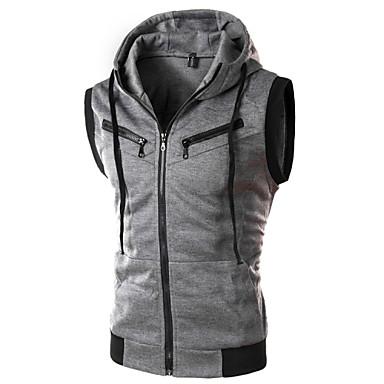 billige Herrers Mode Beklædning-Herre Sport Aktiv Uden ærmer Tynd Hætte Hættetrøjer og trøjer - Ensfarvet / Farveblok