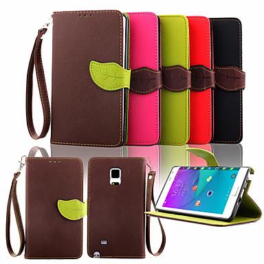 Недорогие Чехлы и кейсы для Galaxy Note-Кейс для Назначение SSamsung Galaxy Note 4 / Note 3 / Note 2 Кошелек / Бумажник для карт / со стендом Чехол Однотонный Кожа PU