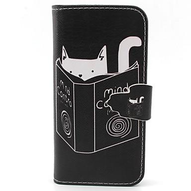 padrão gatinho leitura de couro pu caso de corpo inteiro com slot para cartão e ficar para iphone 5c