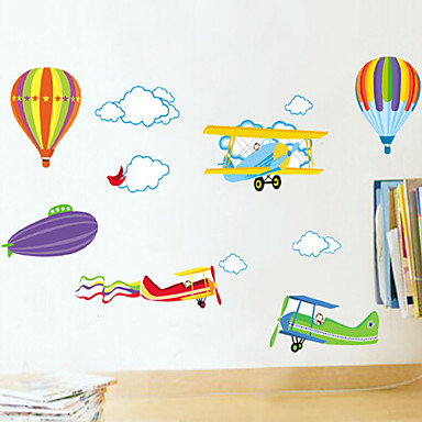 Dieren Romantiek Mode Cartoon Muurstickers Vliegtuig Muurstickers Decoratieve Muurstickers, PVC Huisdecoratie Muursticker Wand Glas /