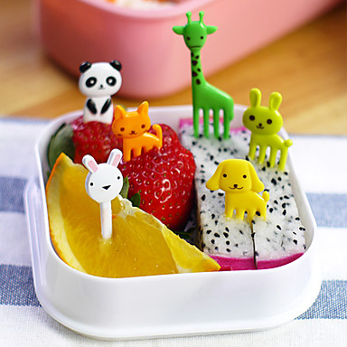 10st dier gevormde bento kawaii dier fruit pakt vorken lunchbox accessoire decor gereedschap (willekeurige kleur)
