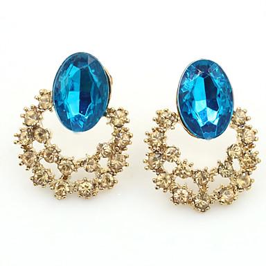 Brincos Curtos Cristal Moda Europeu Strass Chapeado Dourado 18K ouro imitação de diamante Áustria Cristal Dourado Jóias Para 2pçs
