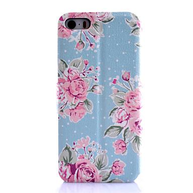 tok Για iPhone 5 Apple Θήκη iPhone 5 Θήκη καρτών με βάση στήριξης Ανοιγόμενη Με σχέδια Πλήρης Θήκη Λουλούδι Σκληρή PU δέρμα για iPhone