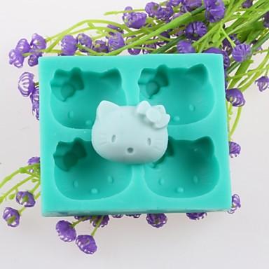 τέσσερα κεφάλια ζώων φοντάν κέικ καλούπια σιλικόνης σοκολάτα, διακόσμηση εργαλεία bakeware