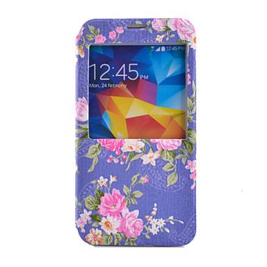 Για Samsung Galaxy Θήκη Θήκη καρτών / Πορτοφόλι / με βάση στήριξης / με παράθυρο / Ανοιγόμενη tok Πλήρης κάλυψη tok ΛουλούδιΣυνθετικό
