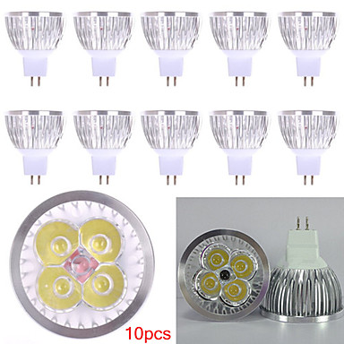HRY 10pçs 3000/6500 lm GU5.3(MR16) Lâmpadas de Foco de LED MR16 4 leds LED de Alta Potência Decorativa Branco Quente Branco Frio DC 12V