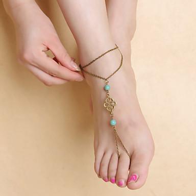 moda feminina de dança yoga simples de metal turquesa tornozeleiras padrão oco pingente
