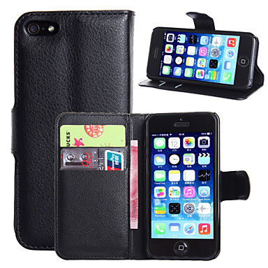 Capinha Para Apple iPhone 8 iPhone 8 Plus iPhone 6 iPhone 6 Plus Porta-Cartão Carteira Com Suporte Flip Capa Proteção Completa Côr Sólida