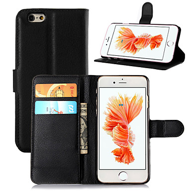 Case For Apple iPhone 8 iPhone 8 Plus iPhone 6 iPhone 6 Plus Card Holder Wallet with Stand Flip Full Body Cases Solid Color Hard PU