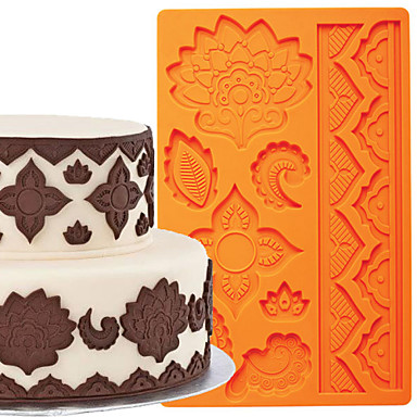 εργαλεία διακόσμηση κέικ παγκόσμια φοντάν και πάστα των ούλων μούχλα κέικ σύνορα μούχλα σιλικόνης FM-03