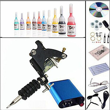 Starter Tattoo Kit 1 steel machine liner & shader Tattoo Machine Mini power supply 10 × 5ml Tattoo Ink 1 x aluminum grip