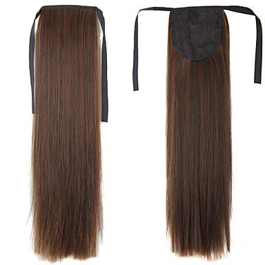 Com Presilha Rabos-de-Cavalo Cabelo Sintético Pedaço de cabelo Alongamento Liso