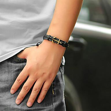 Heren Dames Lederen armbanden Leder Legering Anker Zwart Koffie Sieraden Voor Dagelijks Causaal 1 stuks