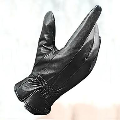 Спортивные перчатки Перчатки для велосипедистов Сохраняет тепло С защитой от ветра Кожа овчины Полный палец Кожа овчины Хлопок Катание на