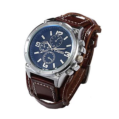 Homens Relógio de Pulso Quartzo Quartzo Japonês Relógio Casual Couro Banda Luxo Preta Branco Marrom