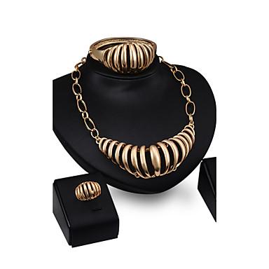 Δήλωση Κοσμήματα Κράμα Χρυσό 1 Ζευγάρι σκουλαρίκια 1 Βραχιόλι Κολιέ Δακτυλίδια Για Γάμου Πάρτι 4pcs Δώρα Γάμου