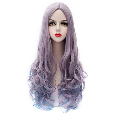 Cabelo Sintético perucas Ondas Leves Sem Touca Peruca de carnaval Peruca de Halloween Muito longo Roxo