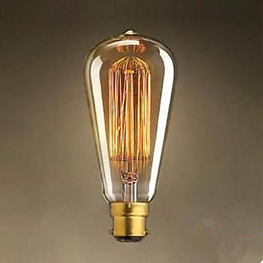 1pc 40 W / 60 W B22 ST64 Warm White 2300 k Incandescent Vintage Edison Light Bulb 220-240 V / 220 V
