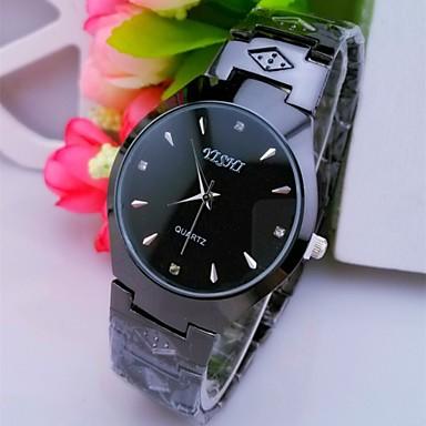 Heren Gesimuleerd Diamant Horloge Polshorloge Kwarts Hot Sale Roestvrij staal Band Amulet Zwart