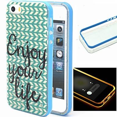Capinha Para Capinha iPhone 5 Antichoque Luz de LED Capa Traseira Palavra / Frase Macia TPU para iPhone SE/5s iPhone 5