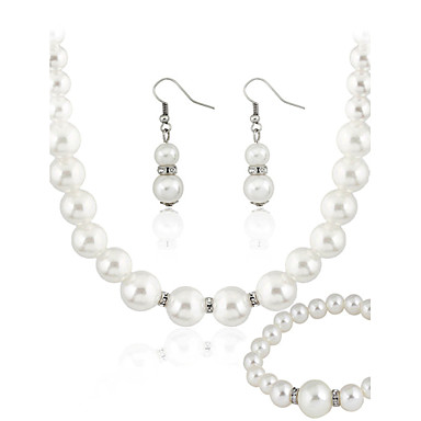 Pentru femei Perle Seturi de bijuterii femei Perle cercei Bijuterii Alb Pentru Nuntă Petrecere Zilnic Casual / Cercei / Coliere / Brățară