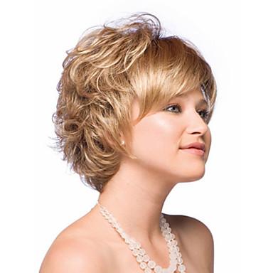Vrouw Synthetische pruiken Zonder kap Kort Golvend Blond Kostuumpruik