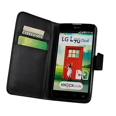 Capinha Para LG Capinha LG Porta-Cartão Carteira Com Suporte Flip Capa Proteção Completa Côr Sólida Rígida PU Leather para