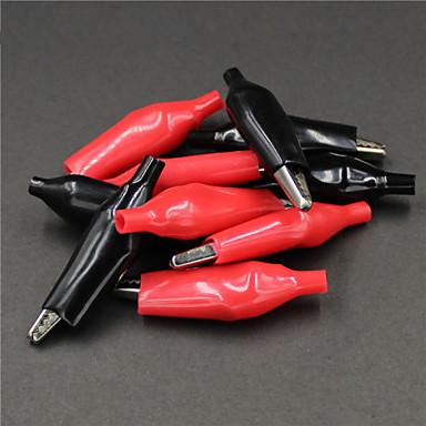δοκιμή σφιγκτήρα αλιγάτορα κροκοδειλάκια - κόκκινο + μαύρο (μέγεθος L / 5 ζεύγη)