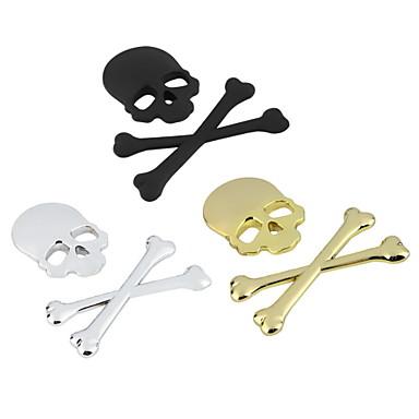 nieuwe 3d 3m schedel metalen skelet gekruiste auto motorfiets stickeretiket schedel embleem badge auto styling stickers decal