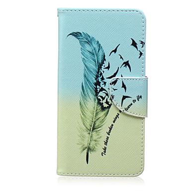 Voor Samsung Galaxy hoesje Hoesje cover Kaarthouder Portemonnee met standaard Flip Patroon Volledige behuizing hoesje Veren PU-leer voor